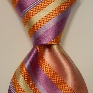 IKE BEHAR Men's Silk Necktie STRIPED Pink/Purple